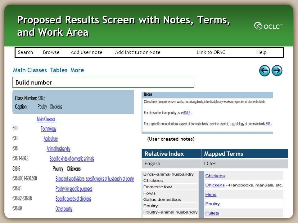 Proposed Results Screen with Notes, Terms, and Work Area