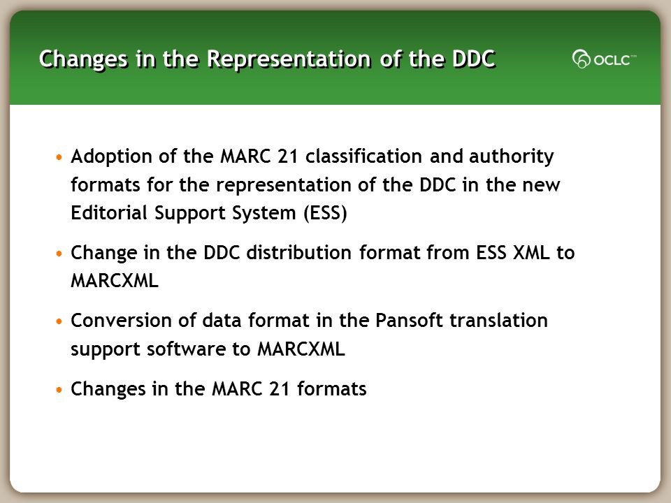 Changes in the Representation of the DDC