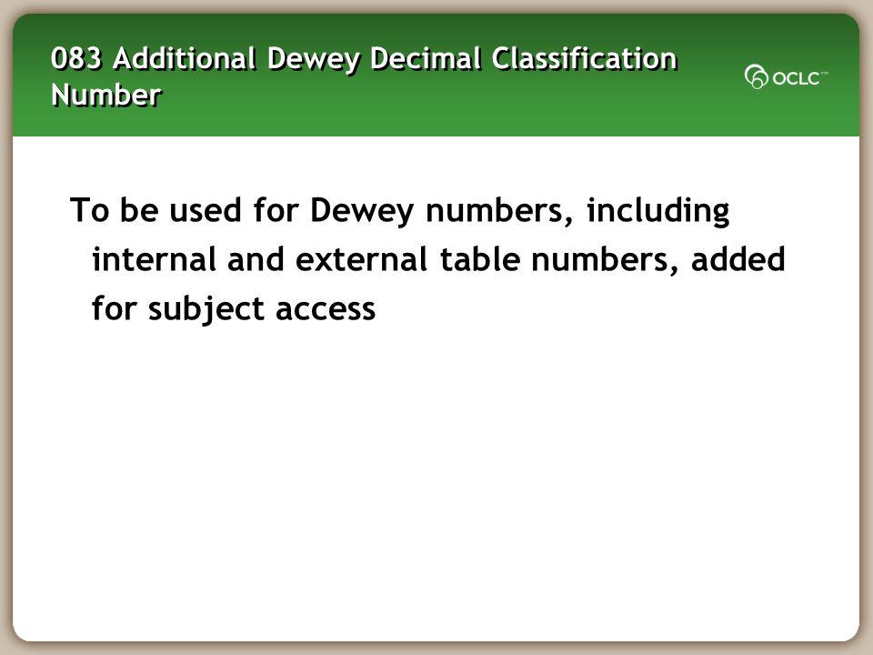 083 Additional Dewey Decimal Classification Number