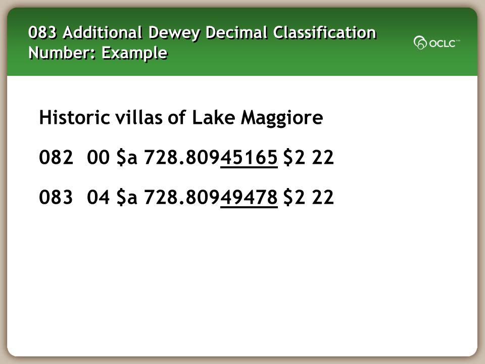 083 Additional Dewey Decimal Classification Number: Example
