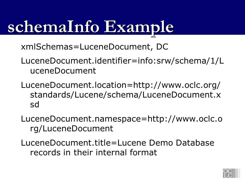 schemaInfo Example xmlSchemas=LuceneDocument, DC