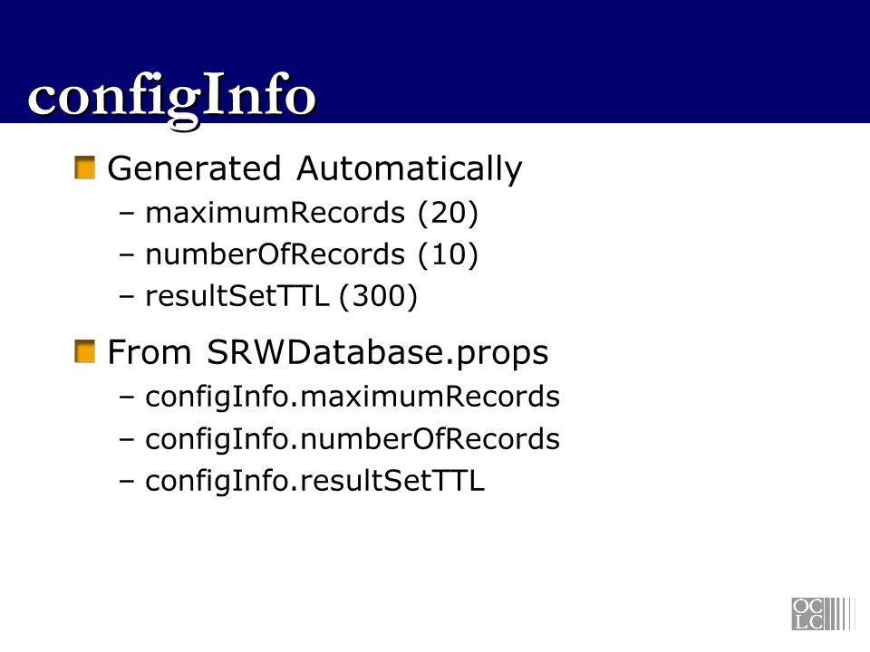 configInfo Generated Automatically From SRWDatabase.props