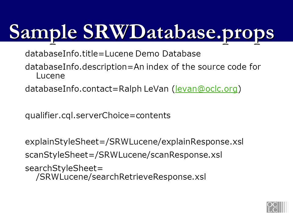 Sample SRWDatabase.props