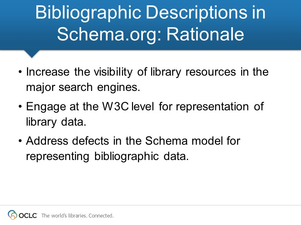 Bibliographic Descriptions in Schema.org: Rationale