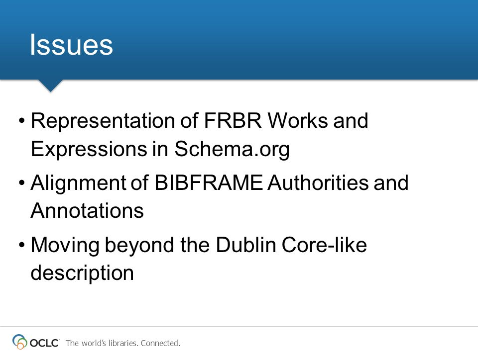 Issues Representation of FRBR Works and Expressions in Schema.org