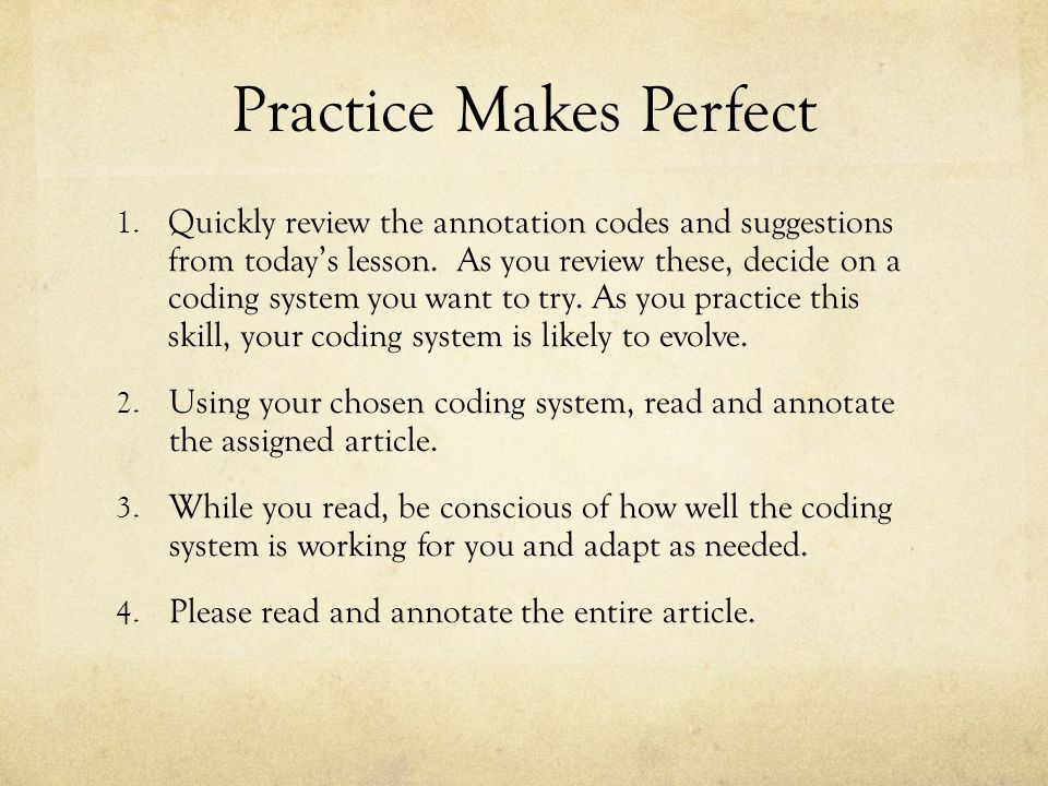 practice makes perfect opinion essay