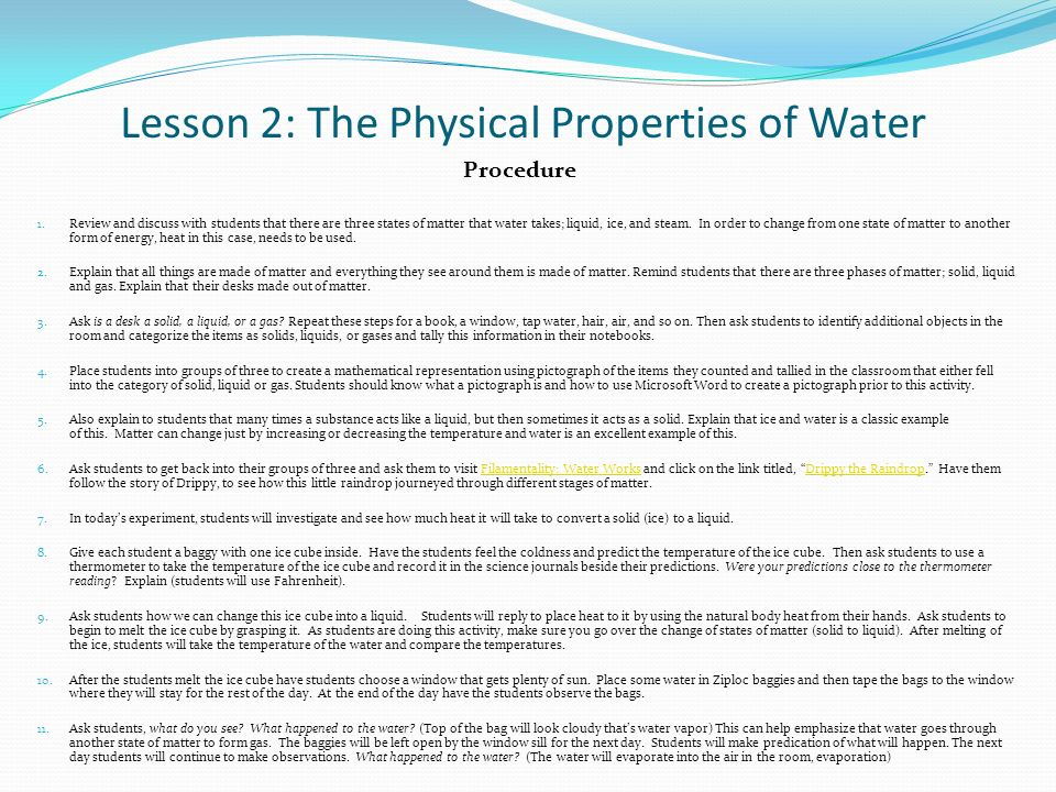 What Are Three Physical Properties Of Tap Water