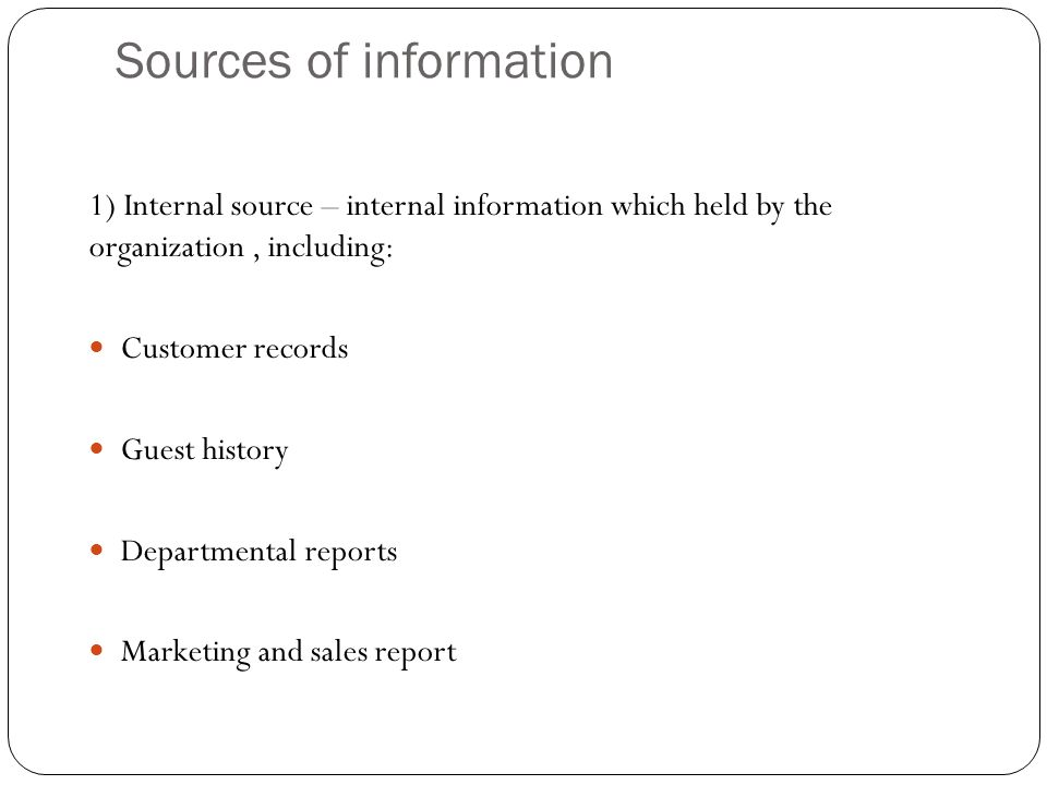sources of marketing information This paper contributes to the study of information sourcing behaviour of travellers and, in particular, considers the impact of the www on the composition of information sources the case under study in this paper is the swiss travelling population, whose consumption behaviour can be characterised as mature.