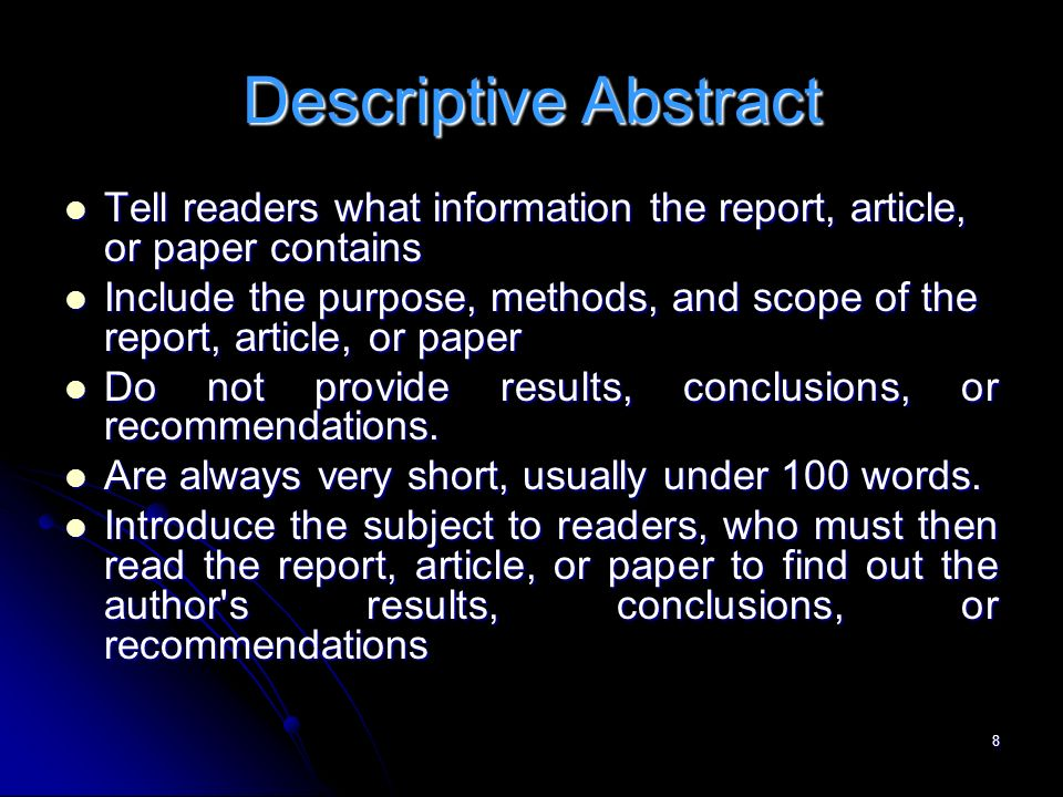 abstract for scientific research paper A good first place to start your research is to search dissertation abstracts an abstract of a scientific research paper will the writing center.