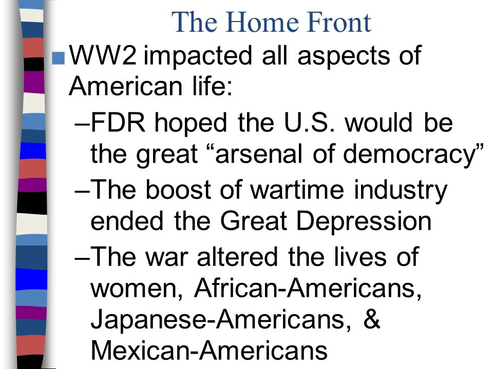 world war ii and its effects on african americans and japanese americans To understand wartime america and the impact and nature of world war ii  the  impact of the war on women and african americans a comparative look at   9066 for the relocation of japanese americans, the centrality of partisan politics  in the.