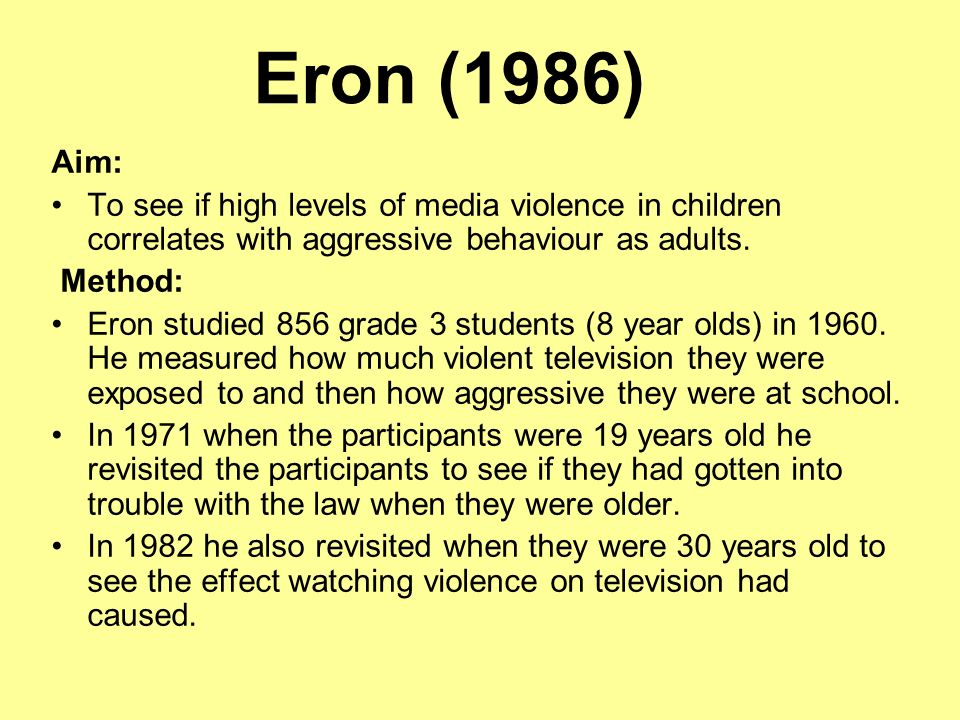a look at the effects of violence in television on our children The psychological effects of violent media on children everything that children see or hear in the media early on in their lives affects them in some way positive parenting role models.