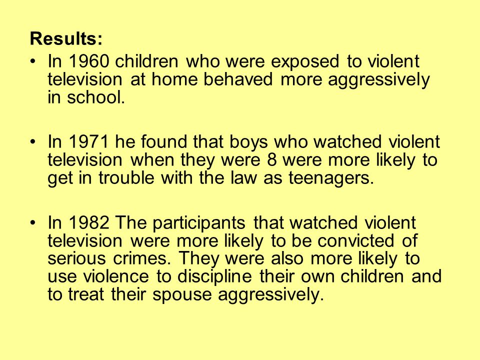 effect television violence children and teenagers Essay about the effect of television violence on children  violent programs on television lead to aggressive behavior by children and teenagers who watch those.