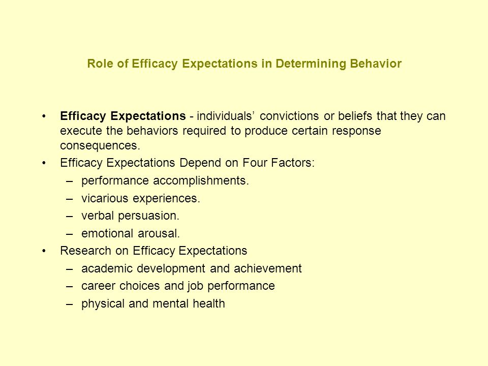 Role of Efficacy Expectations in Determining Behavior