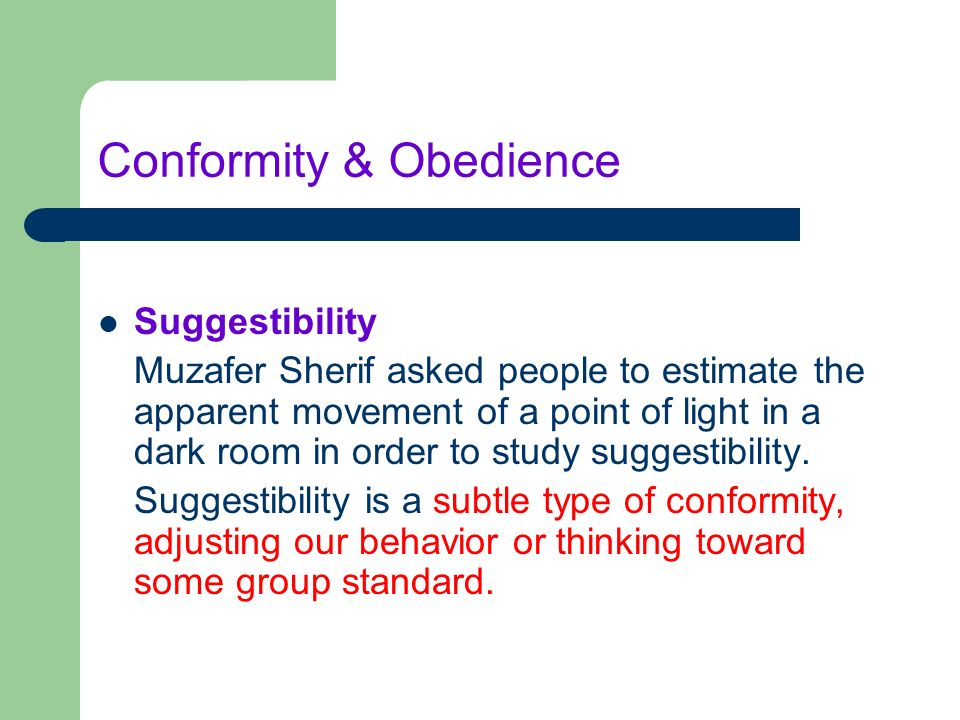 the influence of conformity and obedience essay Table of contents: introduction the concepts of conformity and obedience the classical view on the effect of the group influence on the self the contemporary view on the effect of the group influence on the self.