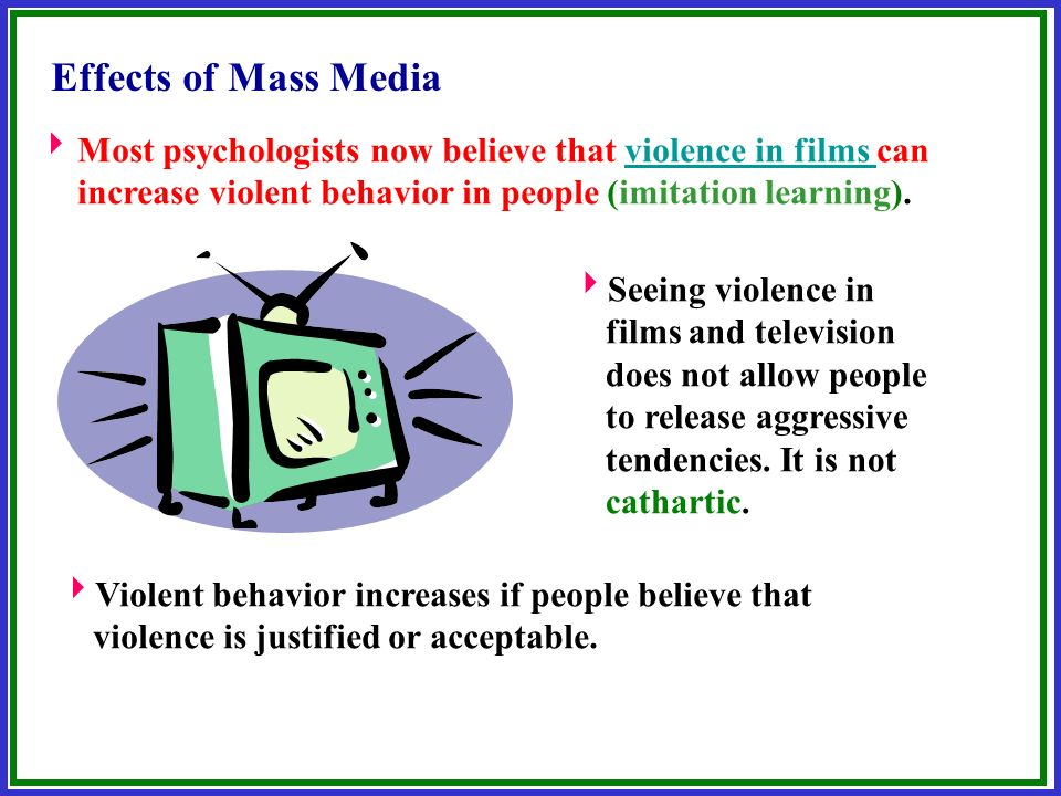 does media violence cause violent behaviour Vokes violent behavior that exposure to media violence heightens the chances that a youth will behave aggressively and have aggressive thoughts in the short run rap music could cause violent attitudes and delayed academic performance.