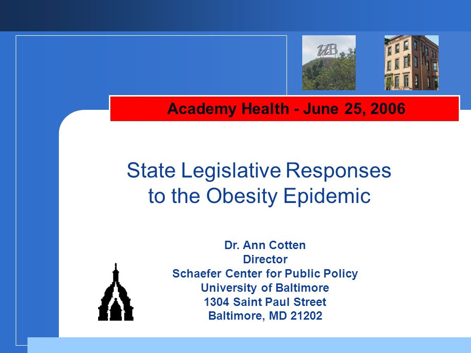 State Legislative Responses to the Obesity Epidemic
