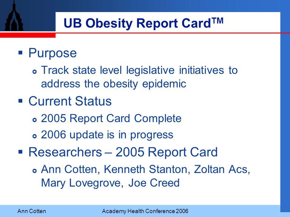 UB Obesity Report CardTM