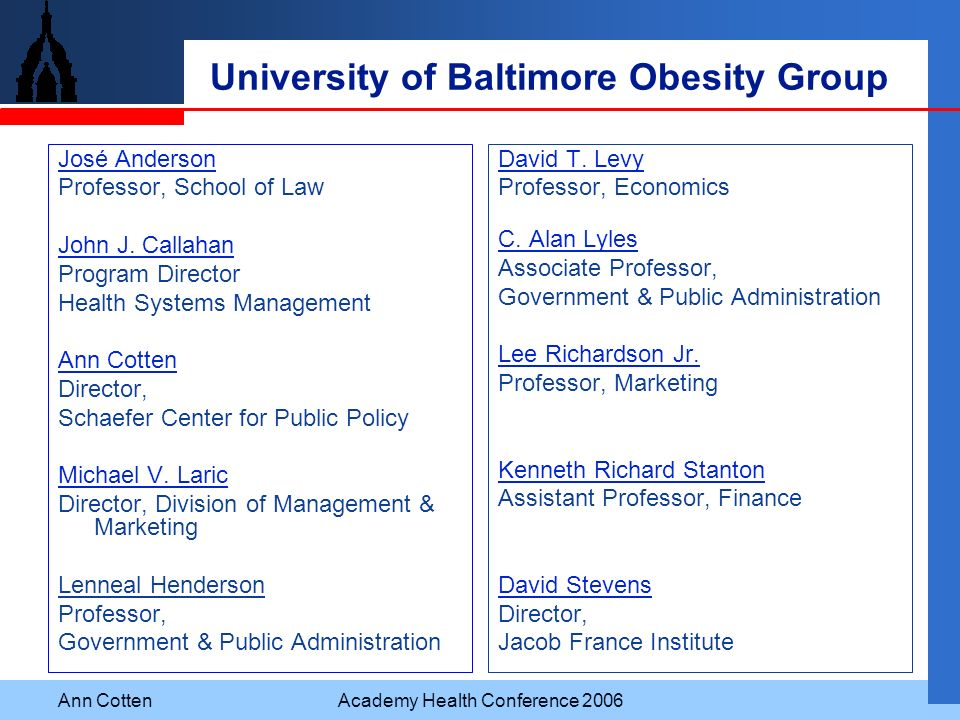 University of Baltimore Obesity Group