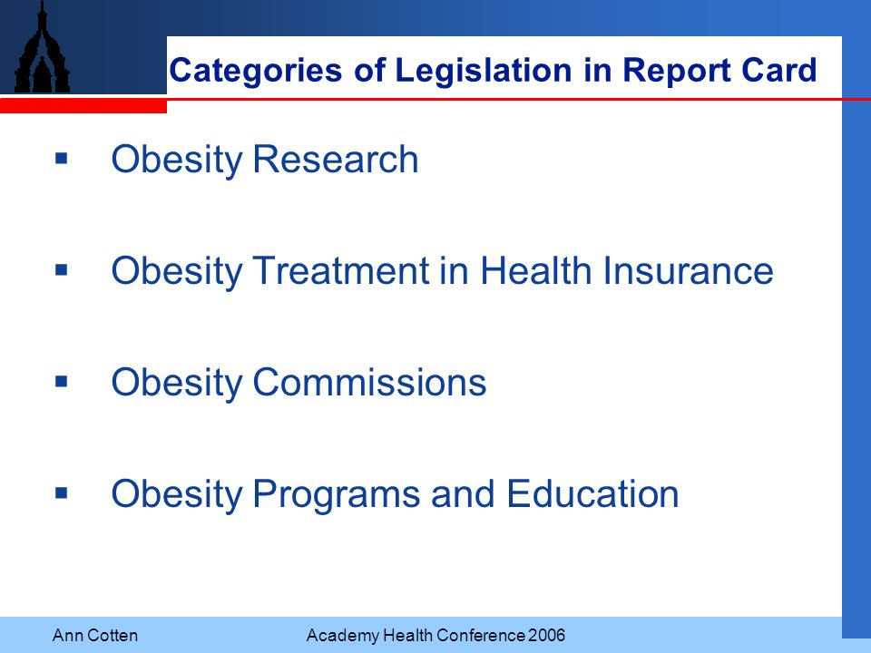 Categories of Legislation in Report Card