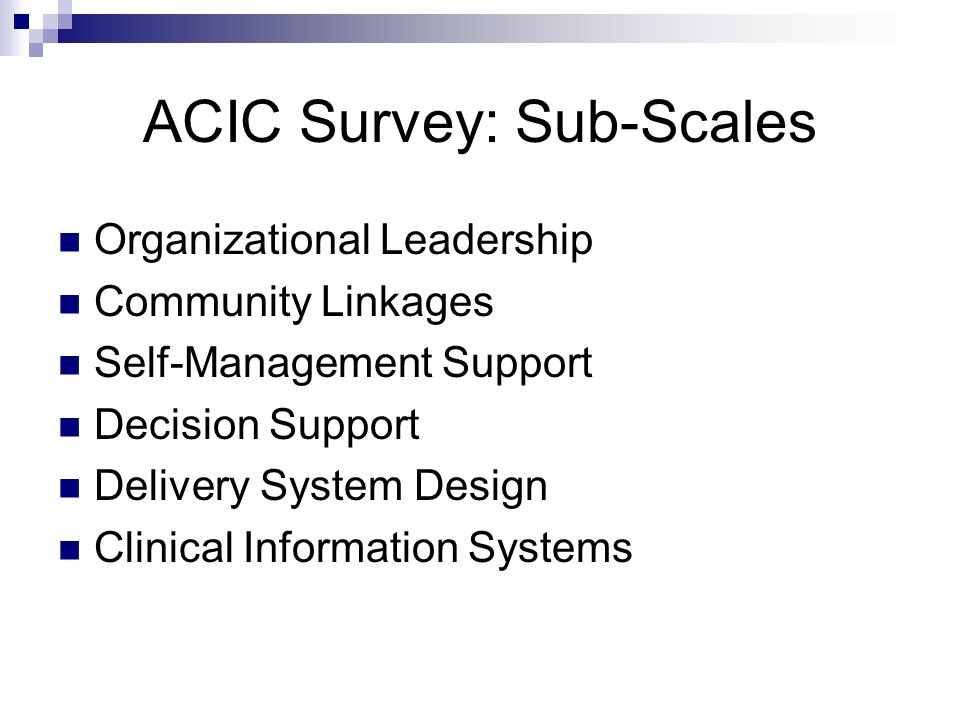 ACIC Survey: Sub-Scales