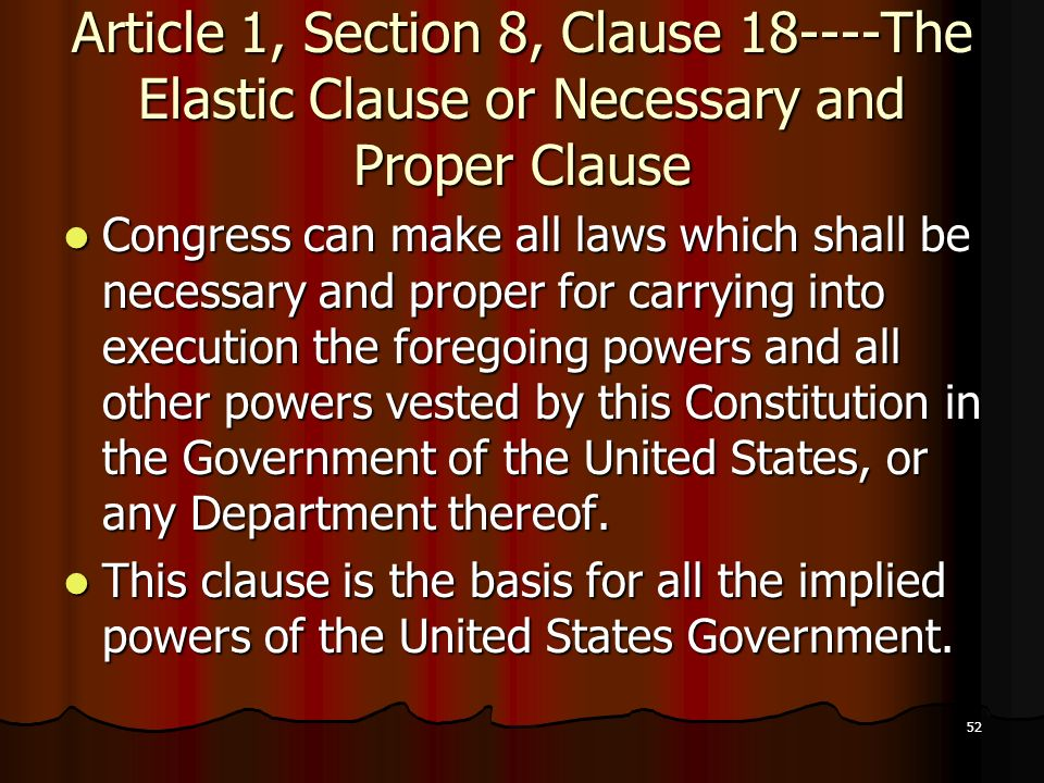article 1 section 8 clause 18 of the constitution