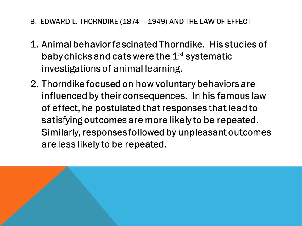 contrast thorndike and skinner The 'skinner box' is a version of thorndike's puzzle box when an animal presses a lever or a button in the box it is instructive to contrast this theory, applied to very simple behaviours, with that of tolman (1937.