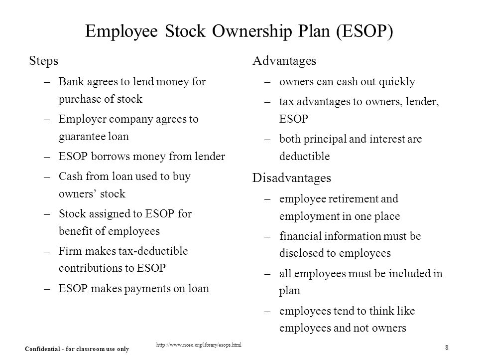 Advantages and disadvantages of employee stock options