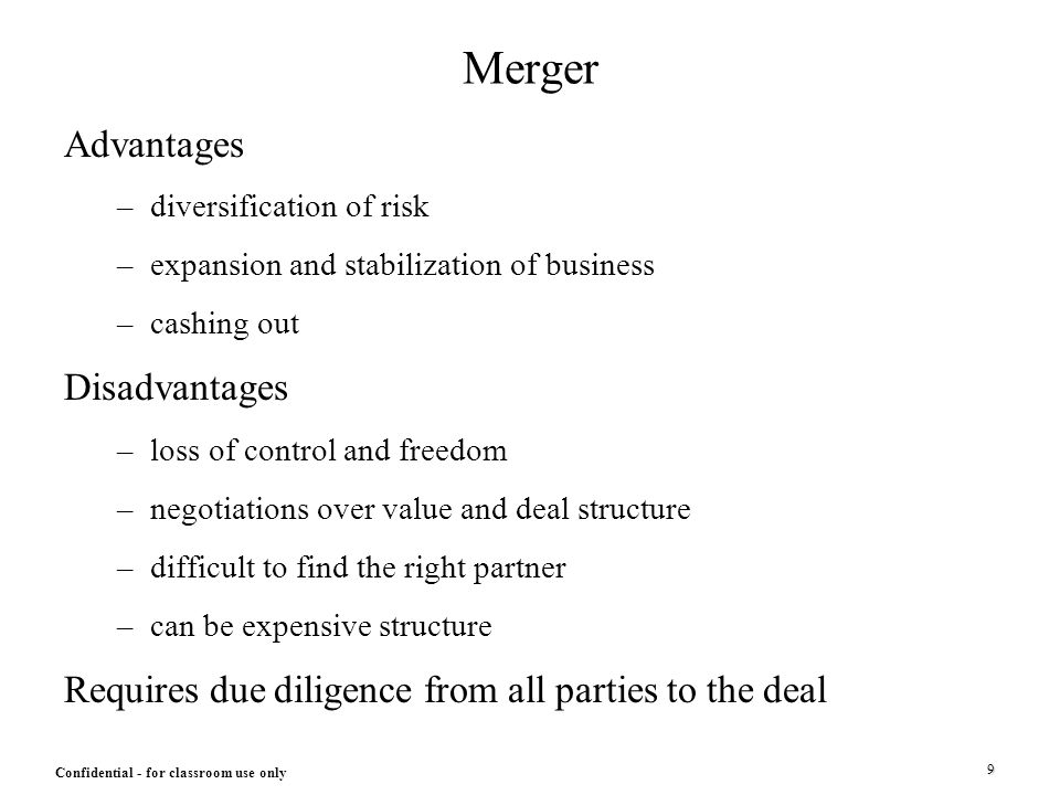 advantages and disadvantages of mergers and acquisitions Mergers and acquisitions (m&a) are common--but rarely successful--ways firms attempt to grow their business  what are these potential advantages and disadvantages.