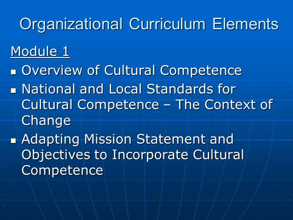 Organizational Curriculum Elements