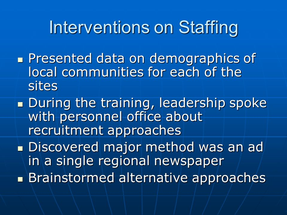 Interventions on Staffing