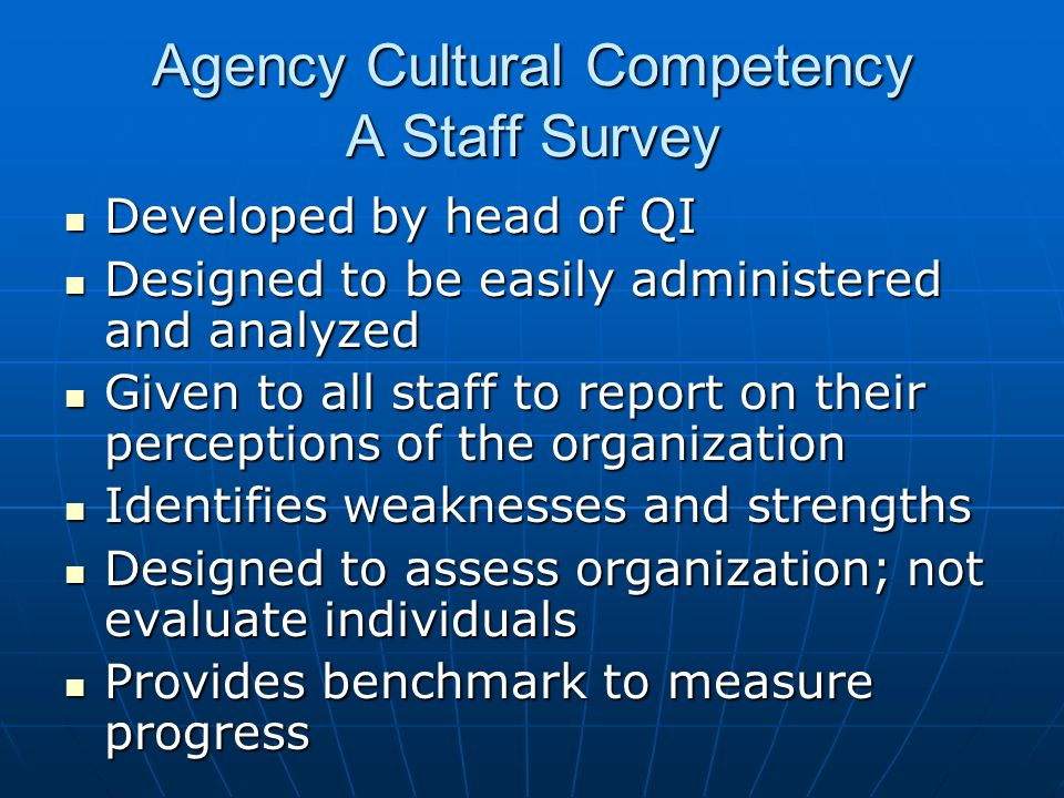 Agency Cultural Competency A Staff Survey