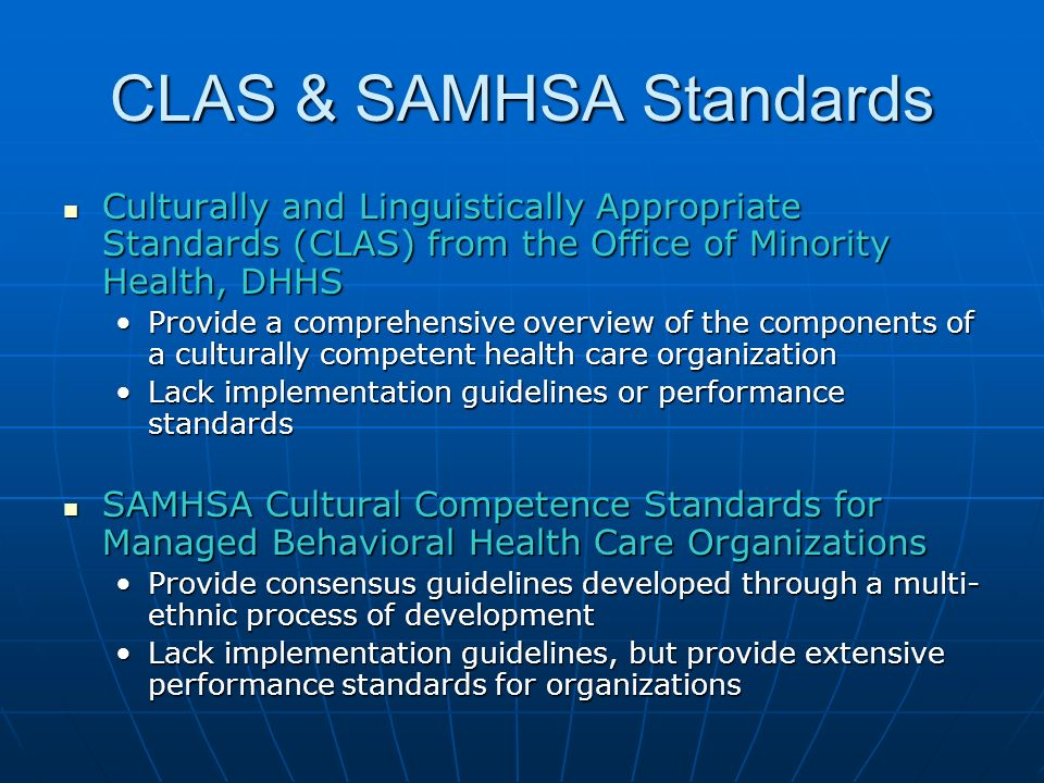 CLAS & SAMHSA Standards