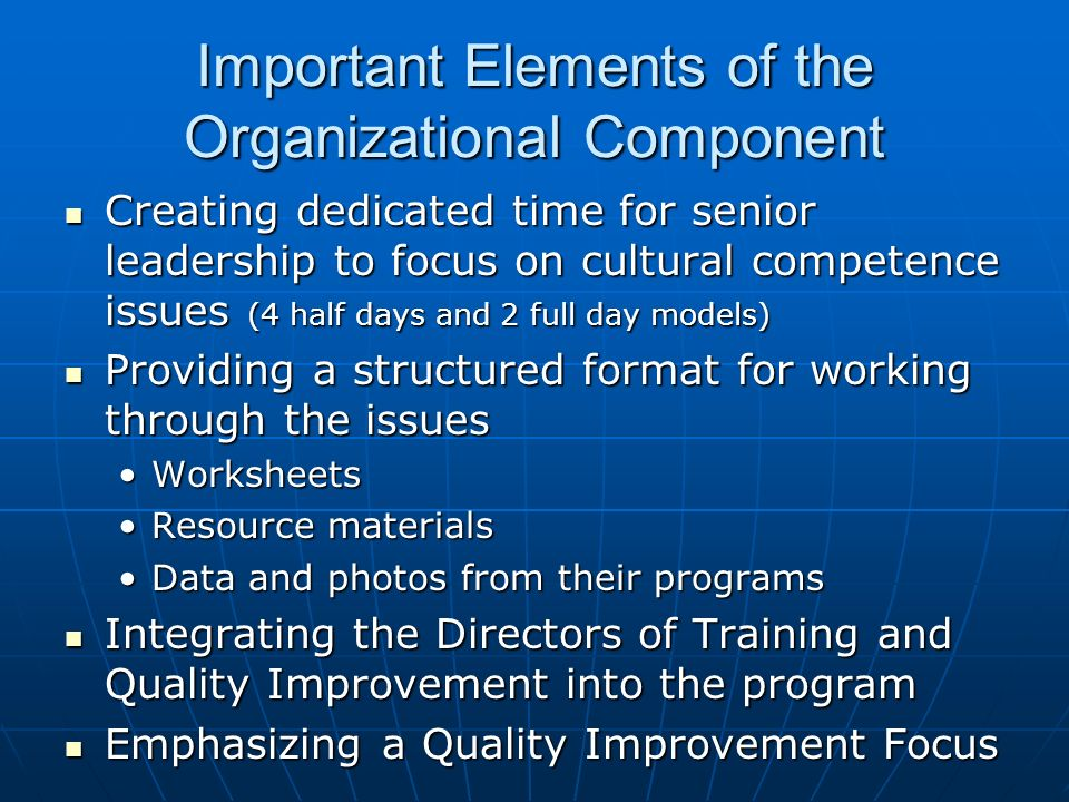 Important Elements of the Organizational Component