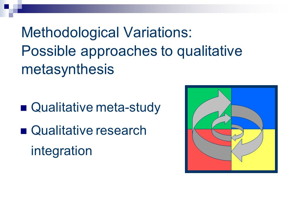 Methodological Variations: Possible approaches to qualitative metasynthesis