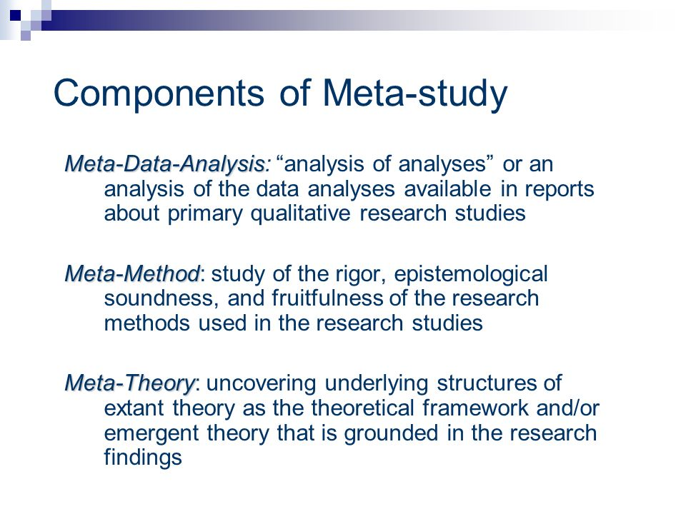 Components of Meta-study