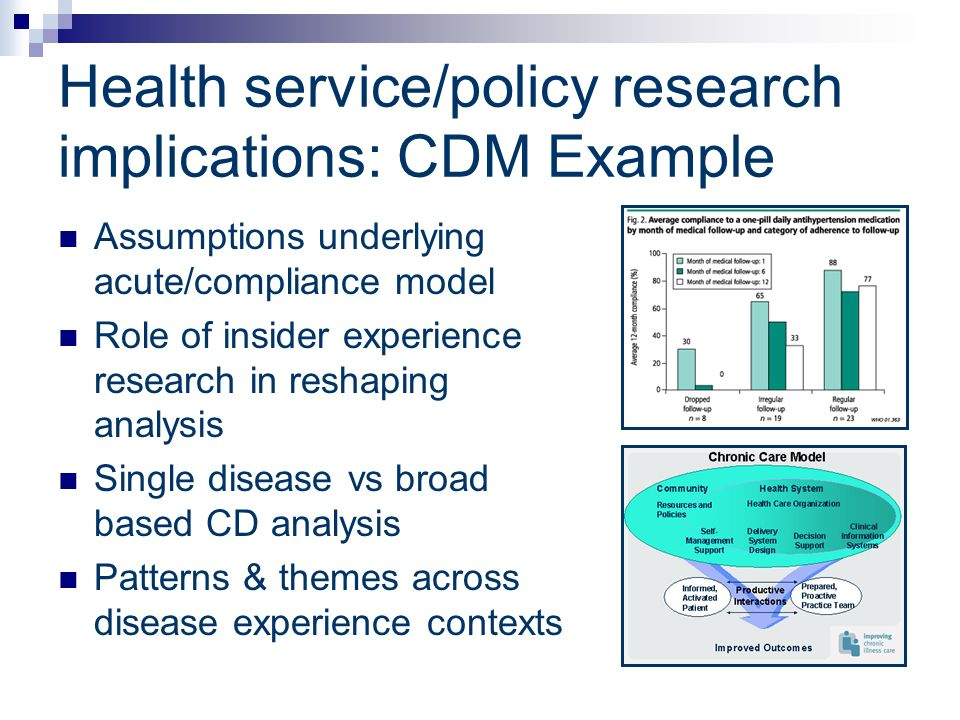 Health service/policy research implications: CDM Example