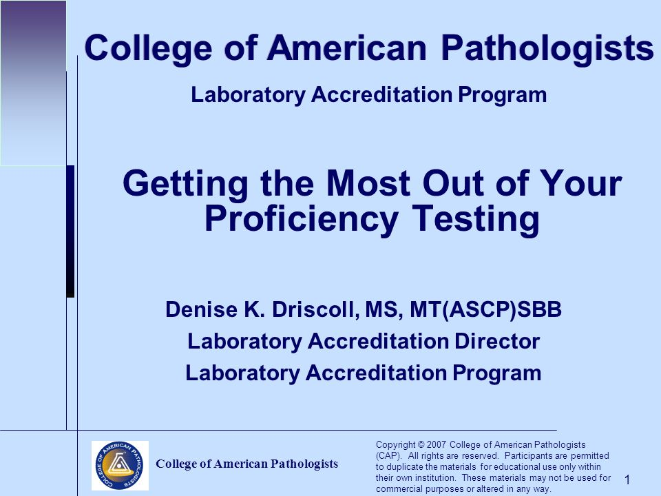College of American Pathologists - ppt video online download f81cbf41e0b
