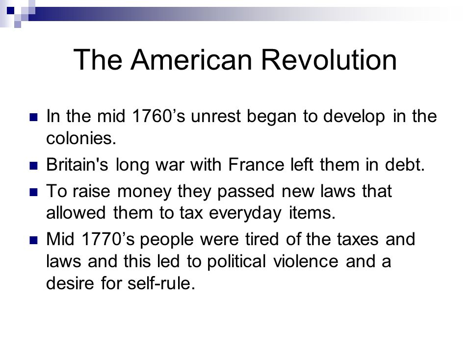 american revolution laws passed Road to revolution 1760-1775 i n 1607 the virginia company of london, an english trading company, planted the first permanent english settlement in north america  of navigation and trade laws these laws, stemming from the economic theory of  according to historian charles middlekauff in his work on the american revolution, the glorious.