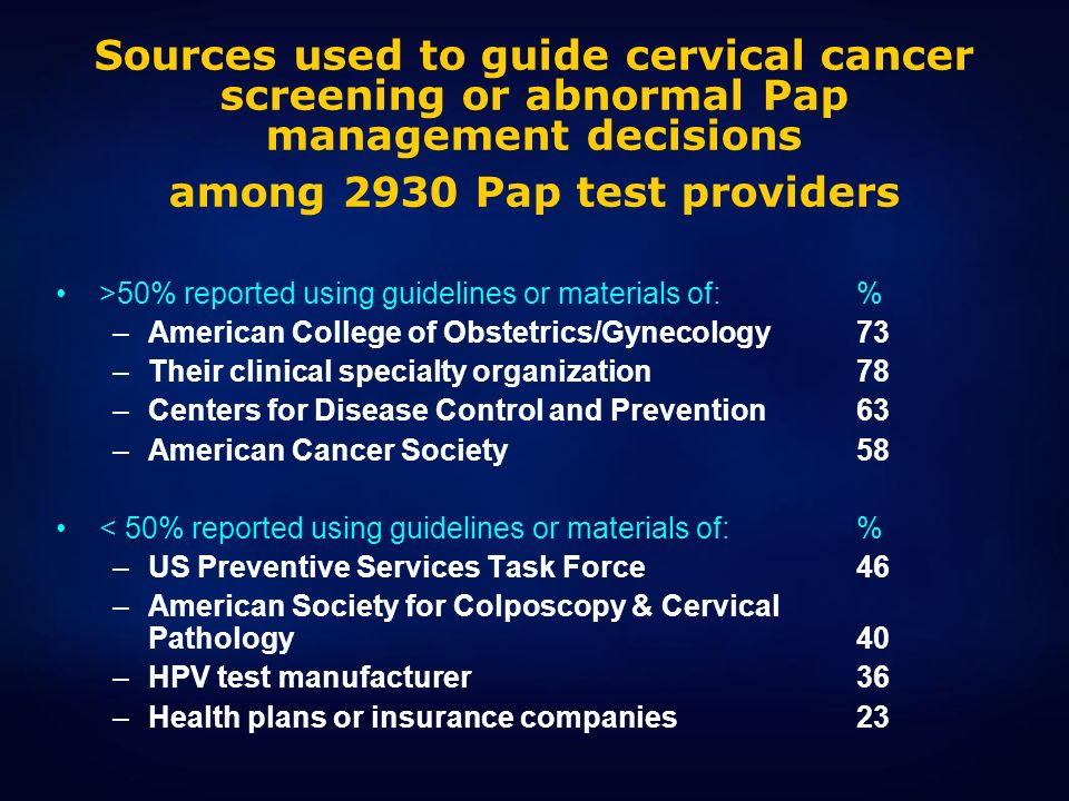 Sources used to guide cervical cancer screening or abnormal Pap management decisions among 2930 Pap test providers