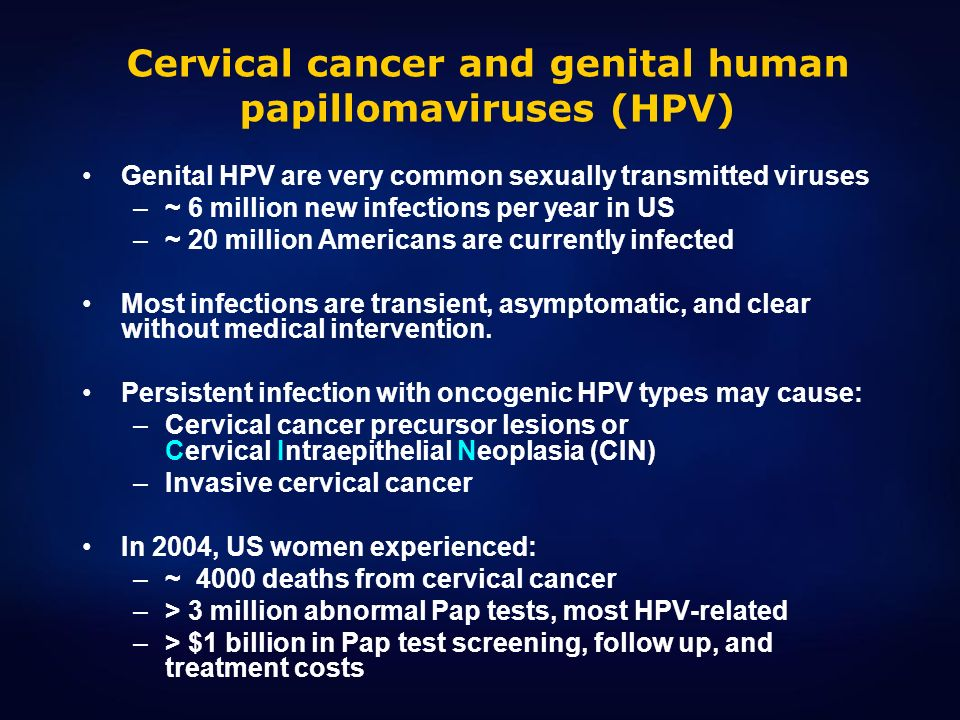 Cervical cancer and genital human papillomaviruses (HPV)