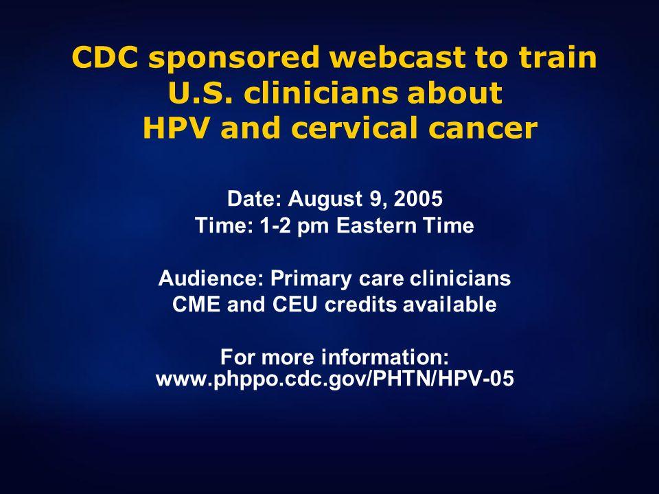 CDC sponsored webcast to train U. S