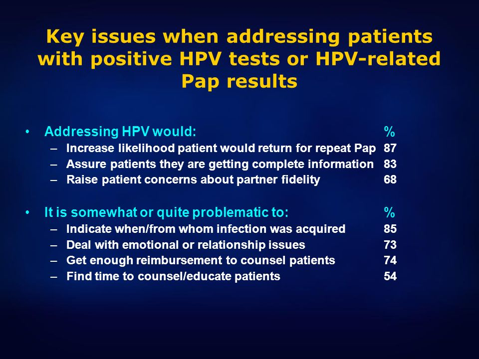 Key issues when addressing patients with positive HPV tests or HPV-related Pap results