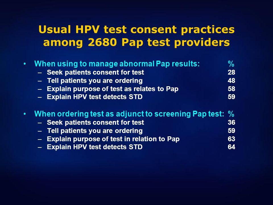 Usual HPV test consent practices among 2680 Pap test providers