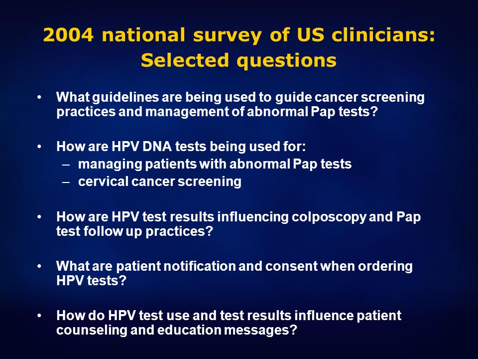 2004 national survey of US clinicians: Selected questions
