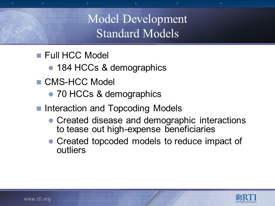 Model Development Standard Models