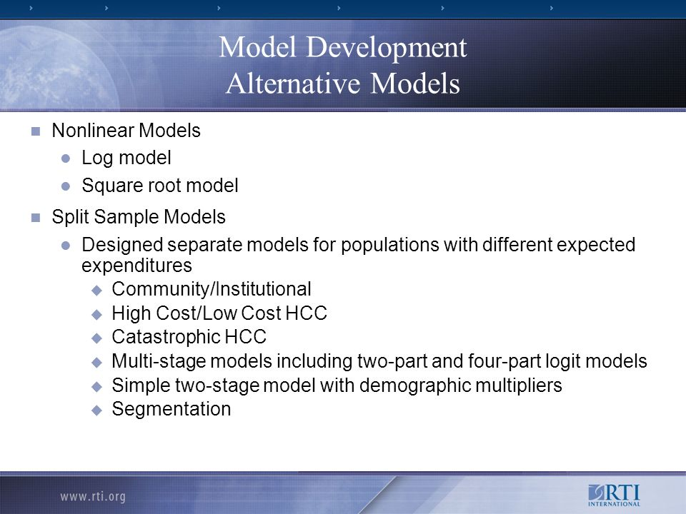 Model Development Alternative Models