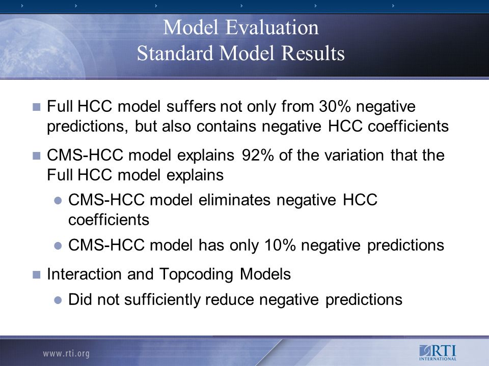 Model Evaluation Standard Model Results