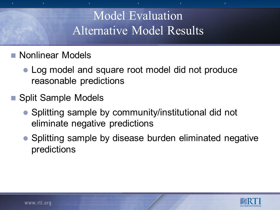 Model Evaluation Alternative Model Results