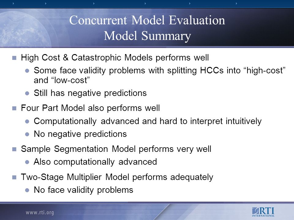 Concurrent Model Evaluation Model Summary