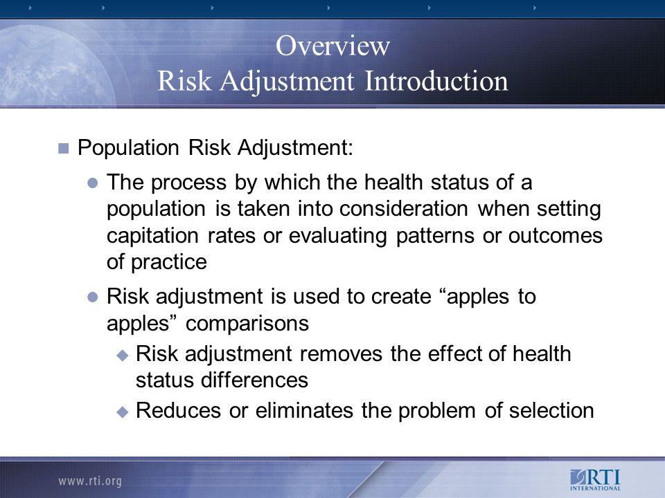 Overview Risk Adjustment Introduction